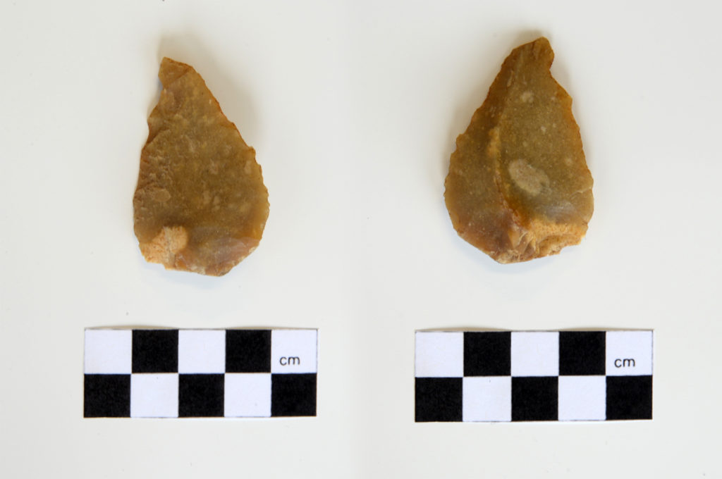 Sydney Light Rail stabling yard—A example of a complete flake made from the waxy lustrous flint material with possible retouch. There is a defined bulb of percussion with gentle ripples along the ventral surface. One battered exterior platform edge could constitute a negative flake scar. (Source: GML Heritage 2018)